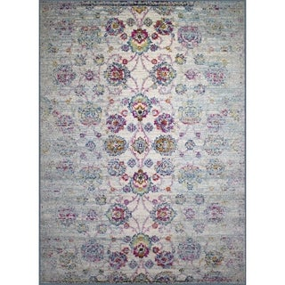 Rug and Decor Casba Collection Cream/Multicolor Wool Distressed Traditional Rug - 7'5 x 10'6