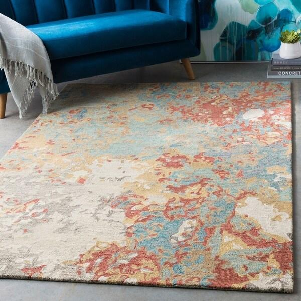 "Jeanne Teal & Khaki Abstract Wool Area Rug - 5' x 7'6"""