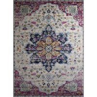 Rug and Decor -Casba Collection - Pink -Cream Traditional Area Rug - 7'5 x 10'6