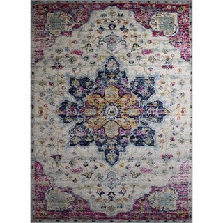 Rug and Decor Casba Collection Pink/Cream Wool Area Rug - 7'5 x 10'6