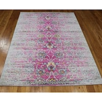 Rug and Decor Casba Collection Violet/Pink Wool Distressed Area Rug - 7'5 x 10'6