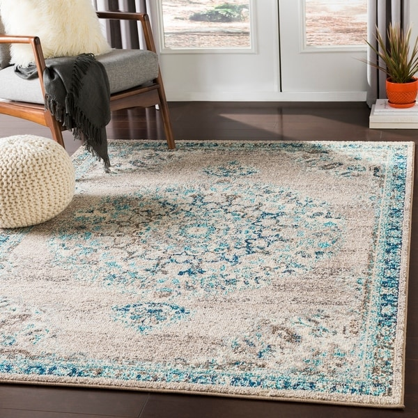 Shop Aicha Light Gray & Teal Traditional Medallion Area