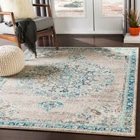 Aicha Light Gray & Teal Traditional Medallion Area Rug - 5'3 x 7'3