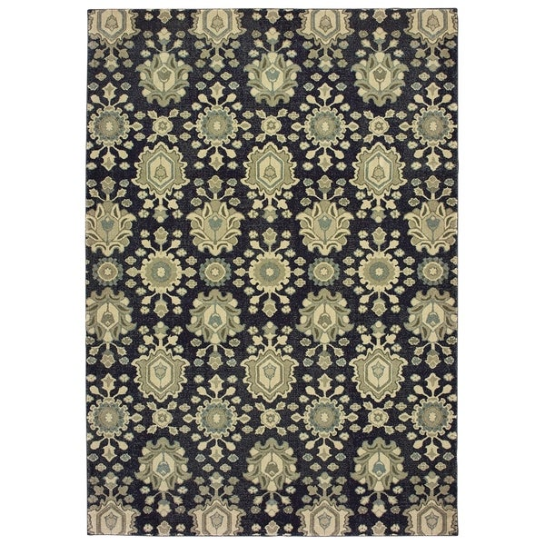 "All Over Floral Medallion Navy/ Ivory Dense Pile Area Rug - 7'10"" x 10'10"""