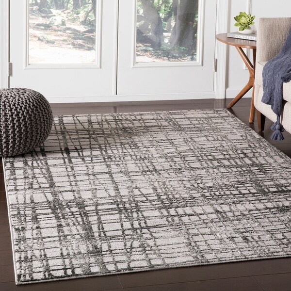 """Pema Charcoal Contemporary Abstract Area Rug - 5'3"""" x 7'3"""""""