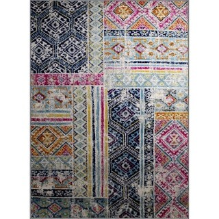 """Rug and Decor - Casba Collection - Multi-Color Patch Design Area Rug - 3'6"""" x 5'"""