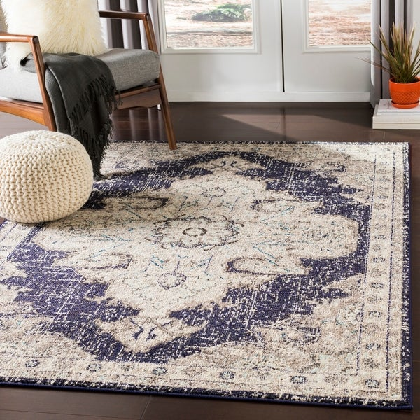 "Chahira Charcoal Vintage Distressed Medallion Area Rug - 7'10"" x 10'3"""