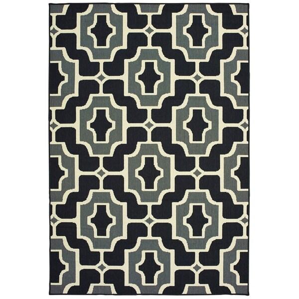"""Havenside Home Pavlof Bay Geometric Tile Black/ Grey Loop Pile Indoor/ Outdoor Area Rug - 1'9"""" x 3'9"""""""
