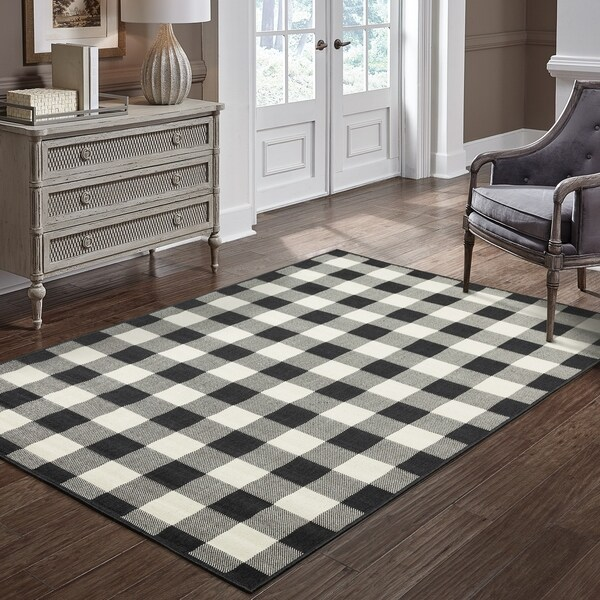 "The Gray Barn Garland Gale Gingham Check Black/ Ivory Loop Pile Indoor-Outdoor Area Rug - 1'9"" x 3'9"""
