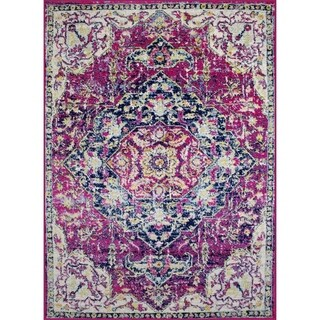 Rug and Decor - Casba Collection - Violet Cream Traditional Area Rug - 5'1 x 7'6