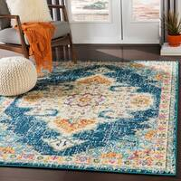 "Chahira Navy & Saffron Vintage Distressed Medallion Area Rug - 9'3"" x 12'3"""