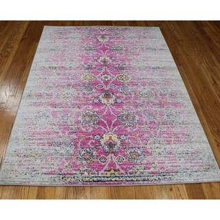 """Casba Collection - Violet Pink Traditional Distressed Area Rug - 3'6"""" x 5'"""