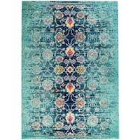 Rug and Decor - Casba Collection- Teal Distressed Traditional Area Rug - 5'1 x 7'6