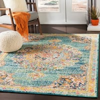 "Aicha Teal Traditional Medallion Area Rug - 7'10"" x 10'3"""