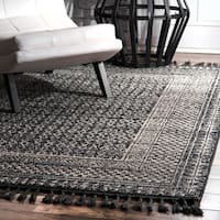 nuLoom Ivory/Multicolor Diamond Checkers Faded Area Rug - 7'6 x 9' 6