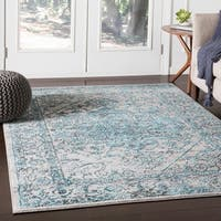 Nirmal Bright Blue Contemporary Floral Area Rug - 7'10 x 10'3