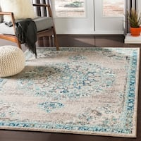 "Aicha Light Gray & Teal Traditional Medallion Area Rug - 7'10"" x 10'3"""