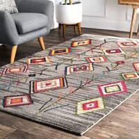 nuLOOM Gray Contemporary Boho Chic Playful Aztec Area Rug