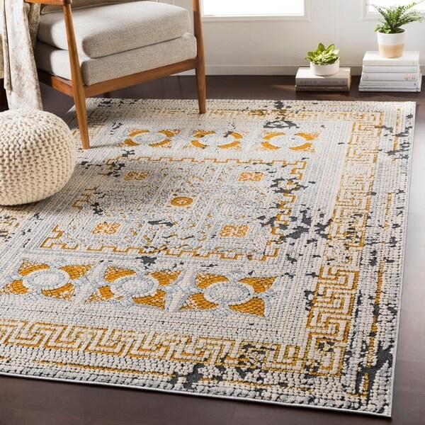 "Padua Yellow & Gray Distressed Mosaic Area Rug - 3'11"" x 5'7"""