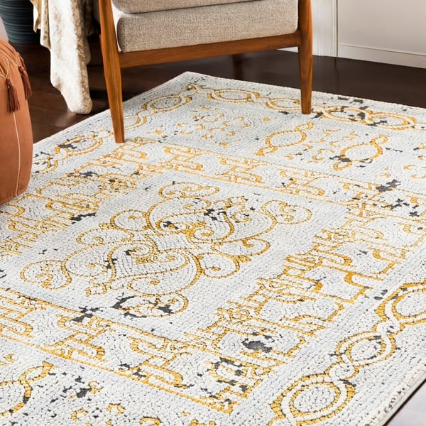 Lucca Yellow Gray Distressed Mosaic Area Rug 3 11