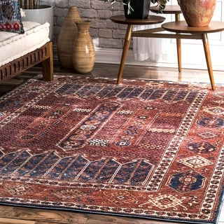 nuLoom Rust Classical Tribal Historic Chic Style Ombre Border Area Rug (7' 6 x 9' 6)