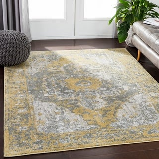 Saul Yellow & Gray Distressed Medallion Area Rug - 2' x 3'