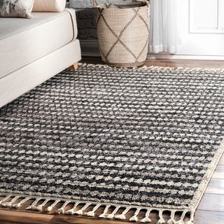 nuLOOM Cultural Modern Faded Stylish Tassel Area Rug