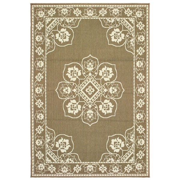 Shop Bordered Medallion Tan Ivory Loop Pile Indoor