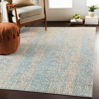 Pavia Blue Gray Distressed Abstract Mosaic Area Rug - 2' x 3'