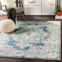 Mirvet Teal & Navy Vintage Distressed Medallion Area Rug - 2' X 3'
