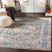 Mourad Charcoal Vintage Distressed Medallion Area Rug - 2' X 3'