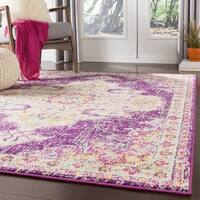Chahira Fuchsia Vintage Distressed Medallion Area Rug - 2' X 3'