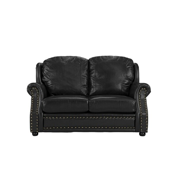 Shop Real Leather Loveseat Sofa With Nailhead Trim
