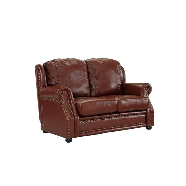 Surprising Shop Real Leather Loveseat Sofa With Nailhead Trim Free Gamerscity Chair Design For Home Gamerscityorg