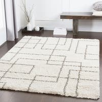 "Klondike Ivory Modern Squares Shag Area Rug - 5'3"" x 7'6"""