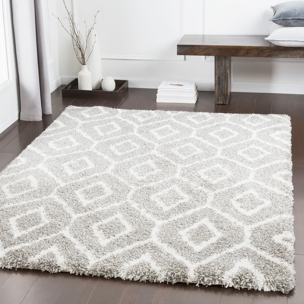 "Klondike Taupe Patterned Plush Shag Area Rug (5'3"" x 7'6"") - 5'3"" x 7'6"""
