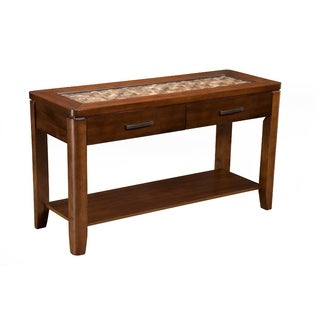Sofa Table With Glass Insert Top And Drawers Brown
