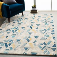"Monae Teal & Yellow Mid-Century Geometric Area Rug - 5'3"" x 7'6"""