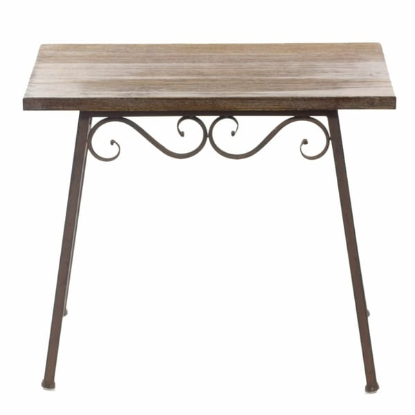 Old-Style Wood And Metal Table, Brown