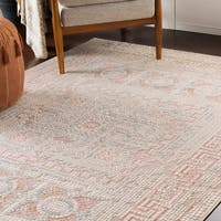 "Padua Blush & Beige Distressed Mosaic Area Rug - 5'3"" x 7'3"""