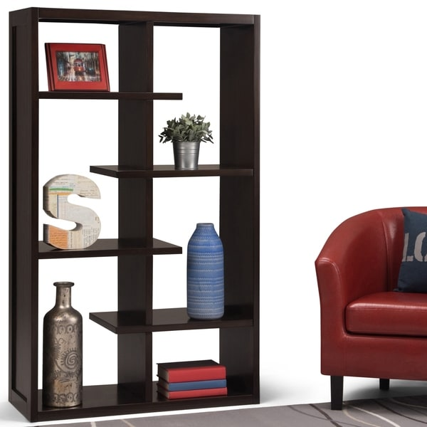 "WYNDENHALL Benson Solid Wood 60 inch x 36 inch Industrial Bookcase in Dark Chestnut Brown - 36""w x 15""d x 60"" h"