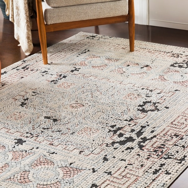 Padua Blush & Gray Distressed Mosaic Area Rug by Generic