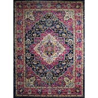 Rug and Decor - Casba Collection - Pink Navy Traditional Area Rug - 7'5 x 10'6