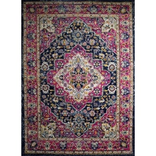 """Rug and Decor - Casba Collection - Pink Navy Traditional Area Rug - 3'6"""" x 5'"""