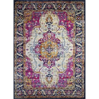 Rug and Decor - Casba Collection - Violet Navy Traditional Area Rug - 5'1 x 7'6
