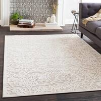 Adalyn Cream Chenille Damask Area Rug - 7'10 x 10'3