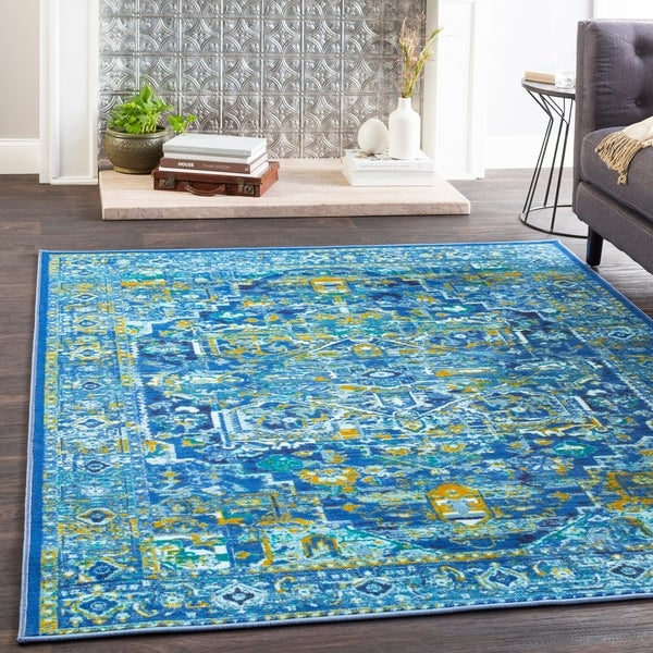 Shop Hurst Blue Amp Saffron Boho Medallion Area Rug 7 10