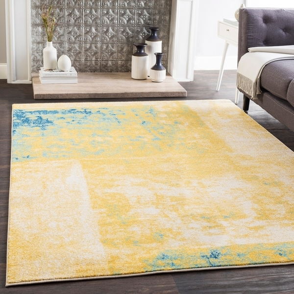 """Talia Yellow & Teal Modern Block Print Area Rug (9'3"""" x 12'6"""") - 9'3"""" x 12'6"""""""
