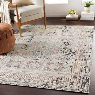 "Padua Blush & Gray Distressed Mosaic Area Rug - 6'7"" x 9'6"""