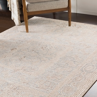 "Lucca Beige Distressed Mosaic Area Rug (9'3"" x 12'3"") - 9'3"" x 12'3"""